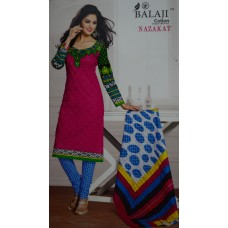 Balaji Pure Cotton Red Pink front, Black and white in rear Unstiched Dress MaterialNFM003