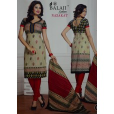 Balaji Pure Cotton Beige colour Unstiched Dress MaterialNFM016